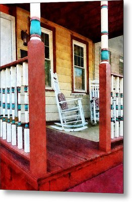 Porch With Red White And Blue Railing Metal Print