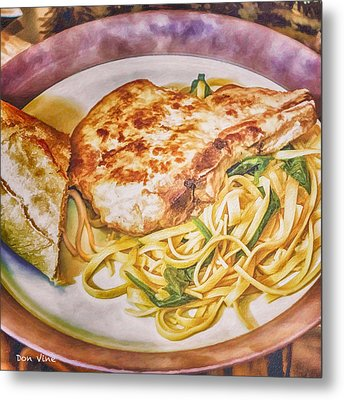 Pork Chop Noodles And French Bread Metal Print