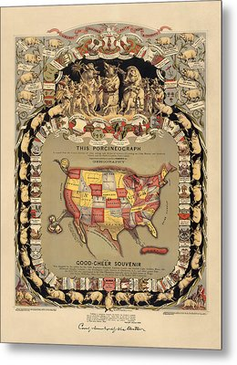 Pork Map Of The United States From 1876 Metal Print