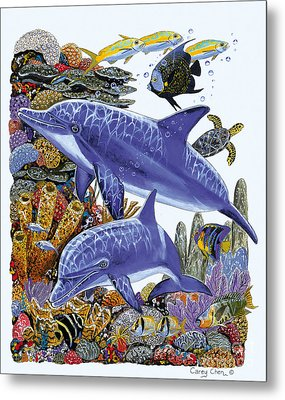 Porpoise Reef Metal Print by Carey Chen