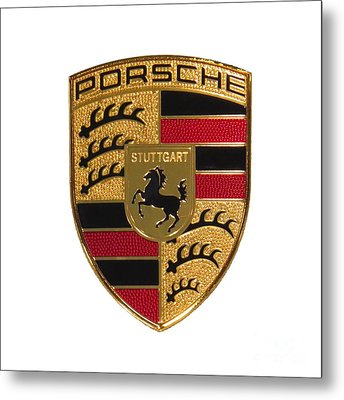 Porsche - Emblem White Metal Print by Scott Cameron