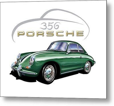 Porsche 356 Coupe Green  Metal Print by David Kyte