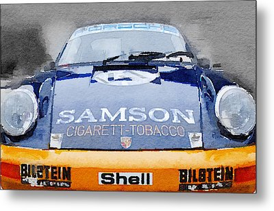 Porsche 911 Front End Watercolor Metal Print by Naxart Studio
