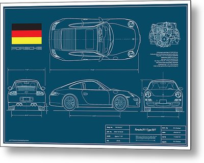 Porsche 911 Type 997 Coupe Metal Print by Douglas Switzer