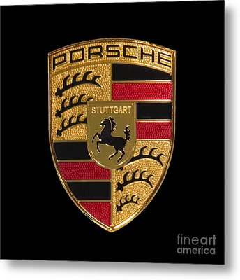 Porsche Emblem - Black Metal Print by Scott Cameron