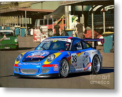 Porsche In The Pits Metal Print