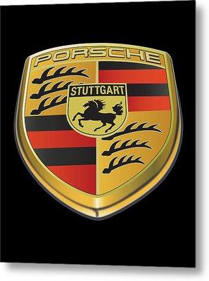 Porsche Logo On Black Metal Print