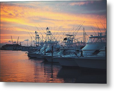 Port Aransas Marina Sunset Metal Print