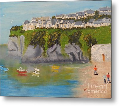 Metal Print featuring the painting Port Asaac Cornwell by Pamela  Meredith