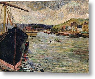 Port At Rouen Oil On Canvas Metal Print