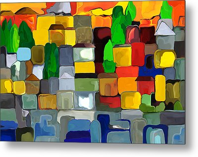 Metal Print featuring the digital art Village By The Sea by Haleh Mahbod