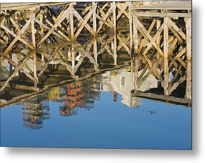 Port Clyde Maine Lobster Traps Reflecting In Water Metal Print by Keith Webber Jr
