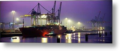Port, Night, Illuminated, Hamburg Metal Print by Panoramic Images