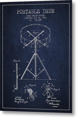 Portable Drum Patent Drawing From 1903 - Blue Metal Print by Aged Pixel