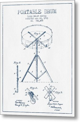 Portable Drum Patent Drawing From 1903 - Blue Ink Metal Print by Aged Pixel