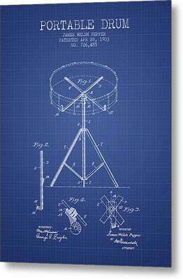 Portable Drum Patent From 1903 - Blueprint Metal Print by Aged Pixel