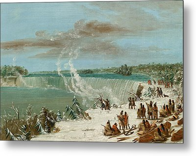 Portage Around The Falls Of Niagara At Table Rock Metal Print by George Catlin