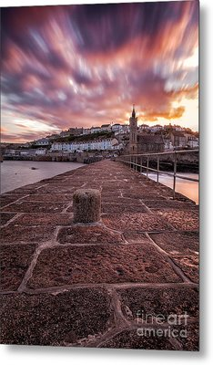 Porthleven Pier Sunrise Metal Print by John Farnan