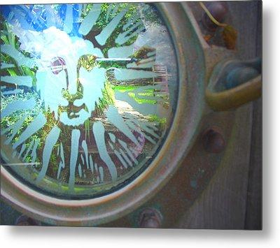 Porthole To The Secret Garden Metal Print