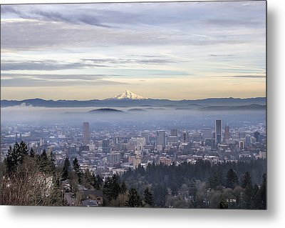 Portland Downtown Foggy Cityscape Metal Print by JPLDesigns
