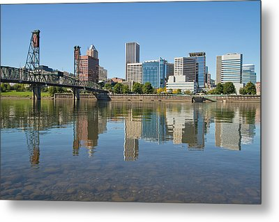 Metal Print featuring the photograph Portland Downtown Skyline And Hawthorne Bridge by JPLDesigns