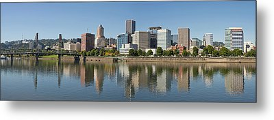 Metal Print featuring the photograph Portland Downtown Waterfront Skyline Panorama by JPLDesigns