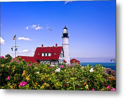 Portland Head Light And Roses Metal Print by Mitchell R Grosky