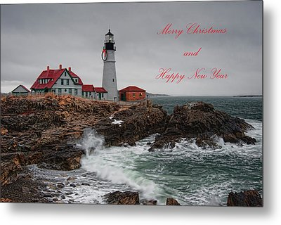 Metal Print featuring the photograph Portland Head Light At Christmas by Richard Bean