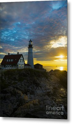 Portland Head Light At Dawn Metal Print by Diane Diederich
