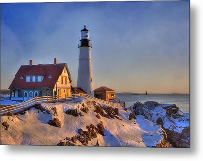 Portland Head Light - New England Lighthouse - Cape Elizabeth Maine Metal Print by Joann Vitali