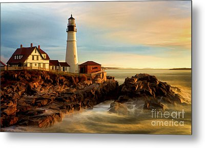 Portland Head Lighthouse At Dawn Metal Print