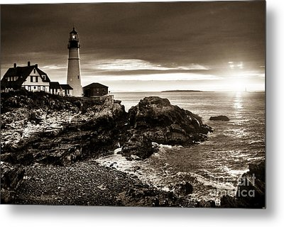 Metal Print featuring the photograph Portland Head Lighthouse Sunrise by Alana Ranney