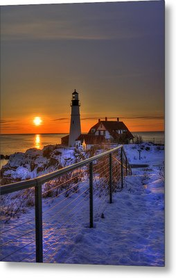 Portland Head Lighthouse Sunrise - Maine Metal Print by Joann Vitali