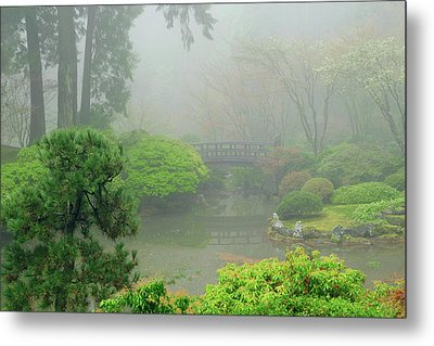 Portland Japanese Garden Fogged Metal Print by Michel Hersen