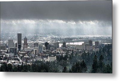 Portland Oregon After A Morning Rain Metal Print