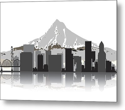 Portland Oregon Skyline 2 Metal Print