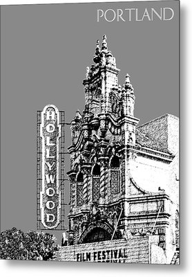 Portland Skyline Hollywood Theater - Pewter Metal Print