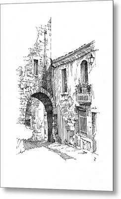 Metal Print featuring the drawing Portmerion by Paul Davenport