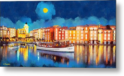 Portofino By Night Metal Print by George Rossidis