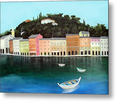 Portofino By The Sea Metal Print by Larry Cirigliano