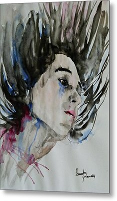 Metal Print featuring the painting Portrait- Girl by Ismeta Gruenwald
