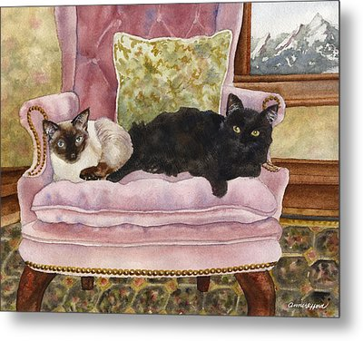 Portrait In Pink Metal Print by Anne Gifford