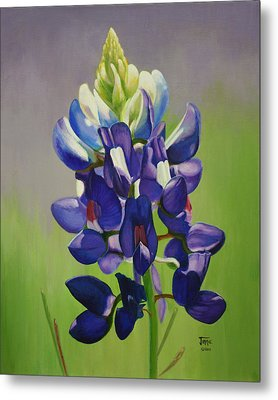 Metal Print featuring the painting Portrait Of A Bluebonnet by Jimmie Bartlett