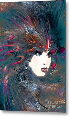 Portrait Of A Flamboyant Woman Metal Print by Doris Wood