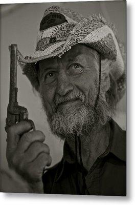 Portrait Of A Joyful Gunslinger . Viewed 244 Times  Metal Print by  Andrzej Goszcz