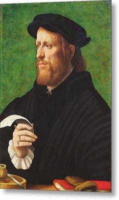 Portrait Of A Man, 1575 Oil On Wood Metal Print by Dutch School