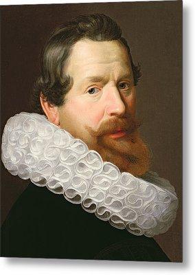 Portrait Of A Man Wearing A Ruff Metal Print by Dutch School