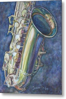 Portrait Of A Sax Metal Print by Jenny Armitage