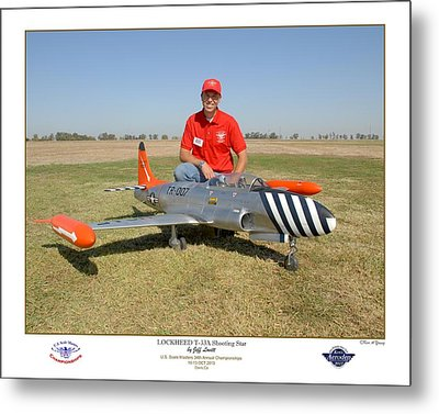 Portrait Of A Shooting Star - Jeff Lovitt And His Lockheed T-33 Metal Print by Ken Young