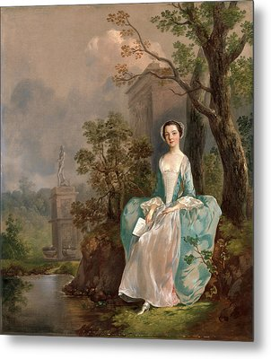 Portrait Of A Woman Girl With A Book Seated In A Park Metal Print by Litz Collection